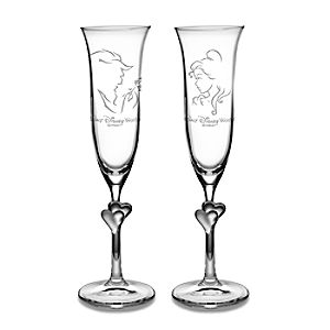 Personalizable Beauty and the Beast Glass Flute Set by Arribas -- 2-Pc.