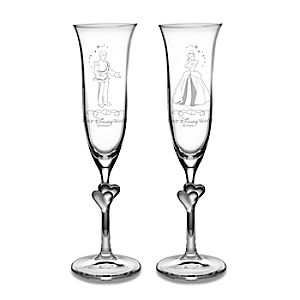 Personalizable Cinderella and Prince Charming Glass Flute Set by Arribas -- 2-Pc.