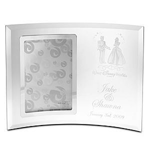 Personalizable Cinderella and Prince Charming Glass Frame by Arribas