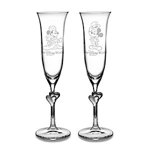 Personalizable Minnie and Mickey Mouse Glass Flute Set by Arribas -- 2-Pc.