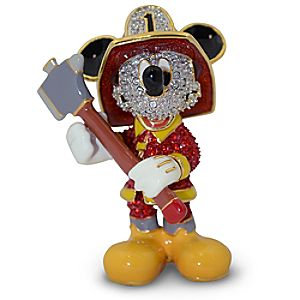Jeweled Fireman Mickey Mouse Figurine by Arribas