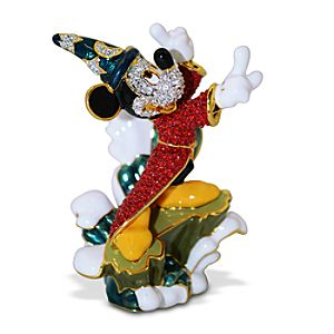 Jeweled Sorcerer Mickey Mouse Figurine on Wave by Arribas