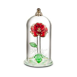 Beauty and the Beast Enchanted Rose Glass Sculpture by Arribas - Small