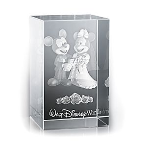 Mickey and Minnie Mouse Wedding Laser Cube by Arribas - Walt Disney World