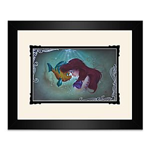 The Little Mermaid Ariel Flounder Framed Deluxe Print by Noah