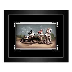 Mickey and Minnie Mouse Service with a Smile Framed Deluxe Print by Noah