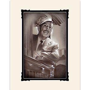Walt Disney Walt in Train Deluxe Print by Noah