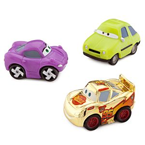 Cars Micro Drifters: Gold Lightning McQueen, Holley Shiftwell and Acer Set -- 3-Pk.