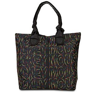 Quilted Nylon Mickey Mouse Tote Bag -- Black