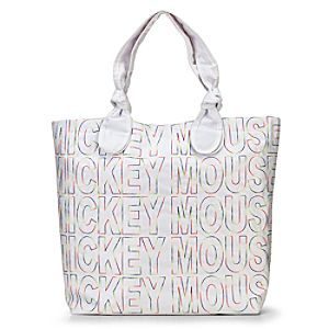 Quilted Nylon Mickey Mouse Tote Bag -- White