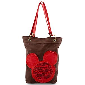 Canvas Mickey Mouse Tote - Brown