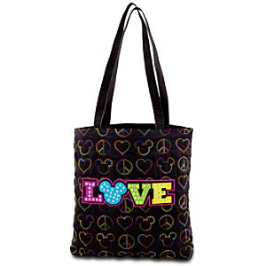 Quilted Peace, Love and Mickey Mouse Tote