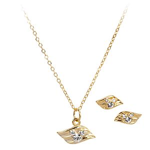 Disney Cruise Line Gold Necklace and Earrings Set
