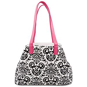 Damask Wallpaper Tote Bag -- White and Pink
