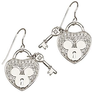 Pav&eacute Crystal Heartlock Mickey Mouse Earrings -- Crystal Heart