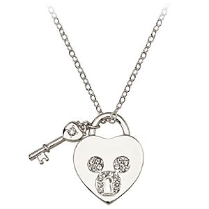 Pav&eacute Crystal Heartlock Mickey Mouse Necklace -- Crystal Mouse Icon