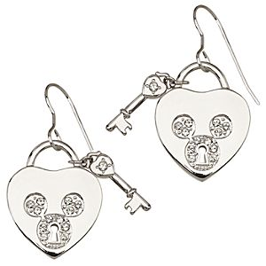 Pav&eacute Crystal Heartlock Mickey Mouse Earrings -- Crystal Mouse Icon