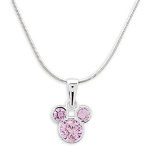 Mickey Mouse Icon Crystal Pendant on Silver Necklace