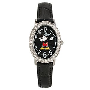 Classic Black Crocodile Mickey Mouse Watch for Adults