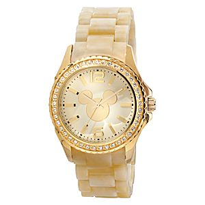 Gold Crystal Link Mickey Mouse Watch for Women