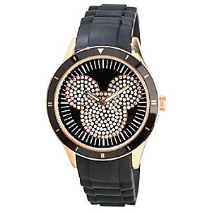 Black and Gold Silicon Icon Mickey Mouse Watch for Adults