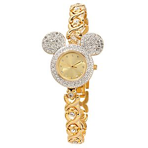 Pavé Crystal Bezel Mickey Mouse Watch for Women