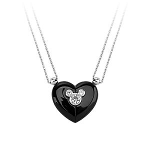 Mickey Mouse Magnetic Heart Necklace by Petra Azar - Black