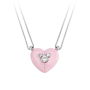 Mickey Mouse Magnetic Heart Necklace by Petra Azar - Pink