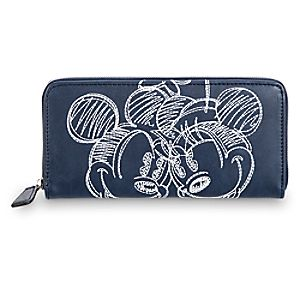 Mickey and Minnie Mouse Embroidered Wallet - Navy - Disney Boutique