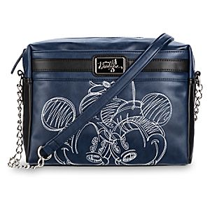 Mickey and Minnie Mouse Embroidered Crossbody Bag - Navy