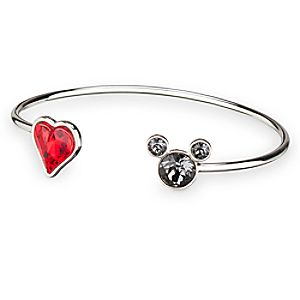 Mickey Mouse Icon Heart Cuff Bracelet - Gray/Red
