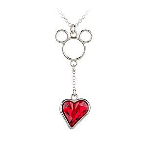 Mickey Mouse Icon Heart Necklace - Red