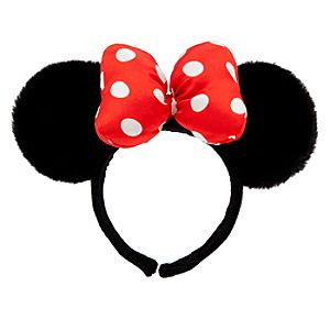 Black Plush Minnie Mouse Ears Headband for Women