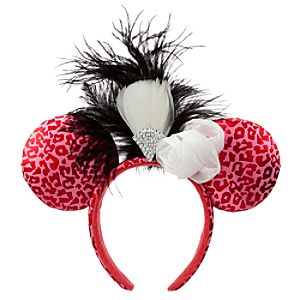 Feathered Minnie Mouse Headband with Silk Rosette