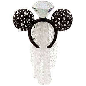 Wedding Ring Minnie Mouse Headband With Veil
