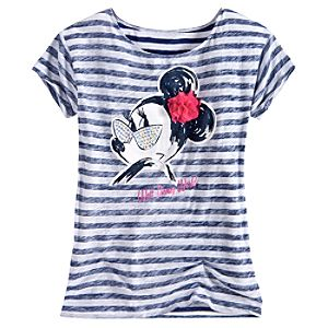 Striped Bloom and Beach Minnie Mouse Tee for Women