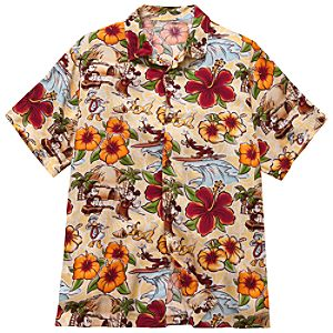 Surf and Sand Mickey Mouse and Friends Hawaiian Shirt for Men -- Yellow