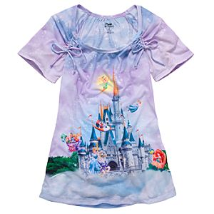 Sublimated Disney Storybook Attractions Magic Kingdom Tee for Women