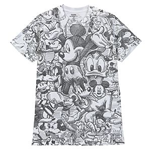 Sketch Art Mickey Mouse Tee for Adults