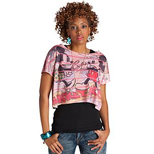 Cropped Comic Strip Minnie Mouse and Mickey Mouse Top for Women