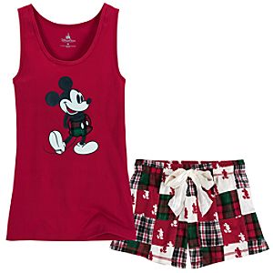 Holiday Mickey Mouse Tank Top and Shorts Sleep Set -- 2-Pc.