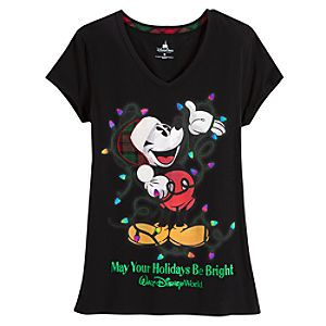 V-Neck Walt Disney World Holiday Mickey Mouse Tee for Women -- Black