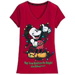 V-Neck Walt Disney World Holiday Mickey Mouse Tee for Women -- Red