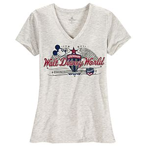 V-Neck Walt Disney World Mickey Mouse Tee for Women -- Gray