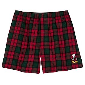 Flannel Santa Mickey Mouse Boxers for Men