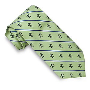 Striped Silk Mickey Mouse Tie for Men -- Lime