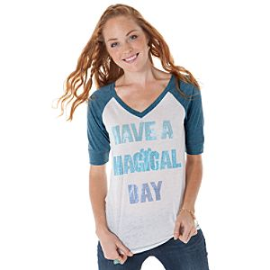 Burnout Raglan Have a Magical Day Mickey Mouse Tee for Women -- Blue