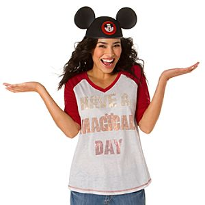 Burnout Raglan Have a Magical Day Mickey Mouse Tee for Women -- Red