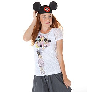Burnout Balloon Girl Mickey Mouse Tee for Women