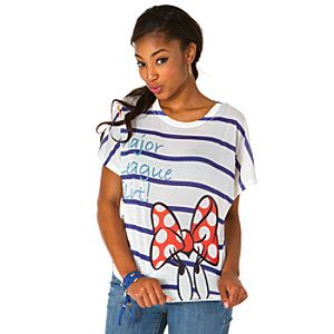 Striped Dolman Sleeve Minnie Mouse Tee for Women